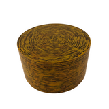 LACQUER ROUND BOX STRIPE YELLOW