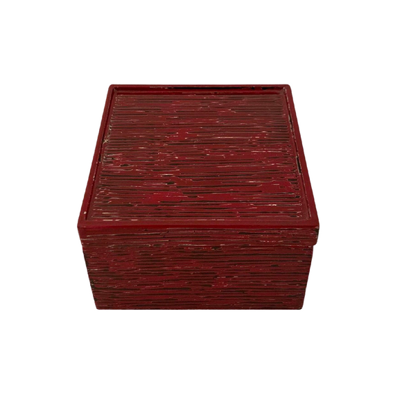 LACQUER SQUARE BOX STRIPE RED