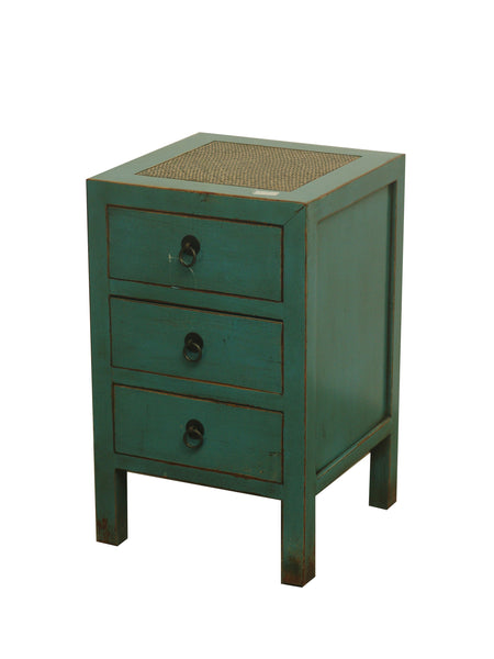 CABINET SMALL 3DW RATTAN TOP TURQUOISE 3CH-010 35X35X58CM