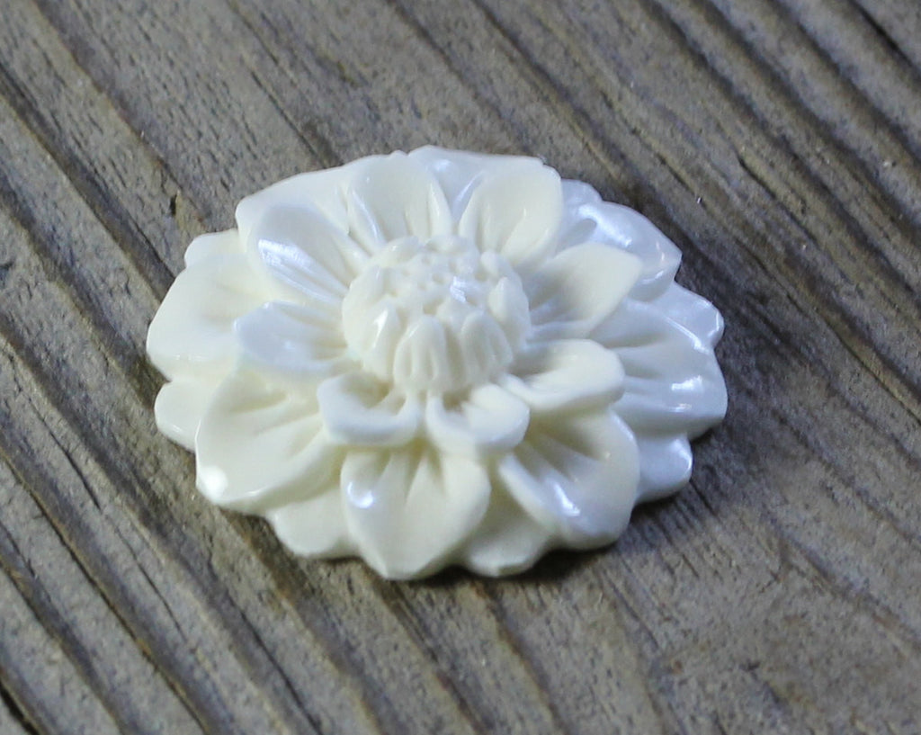 Bone Carving, Blooming Flower Cabochon, Hand Carved Water Buffalo Bone, Flat Back Cameo, Glue on Metal Back, DIY Easy Jewelry Making (B271)