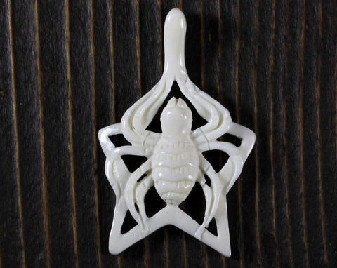 Anchor Pendant, Carved Bone