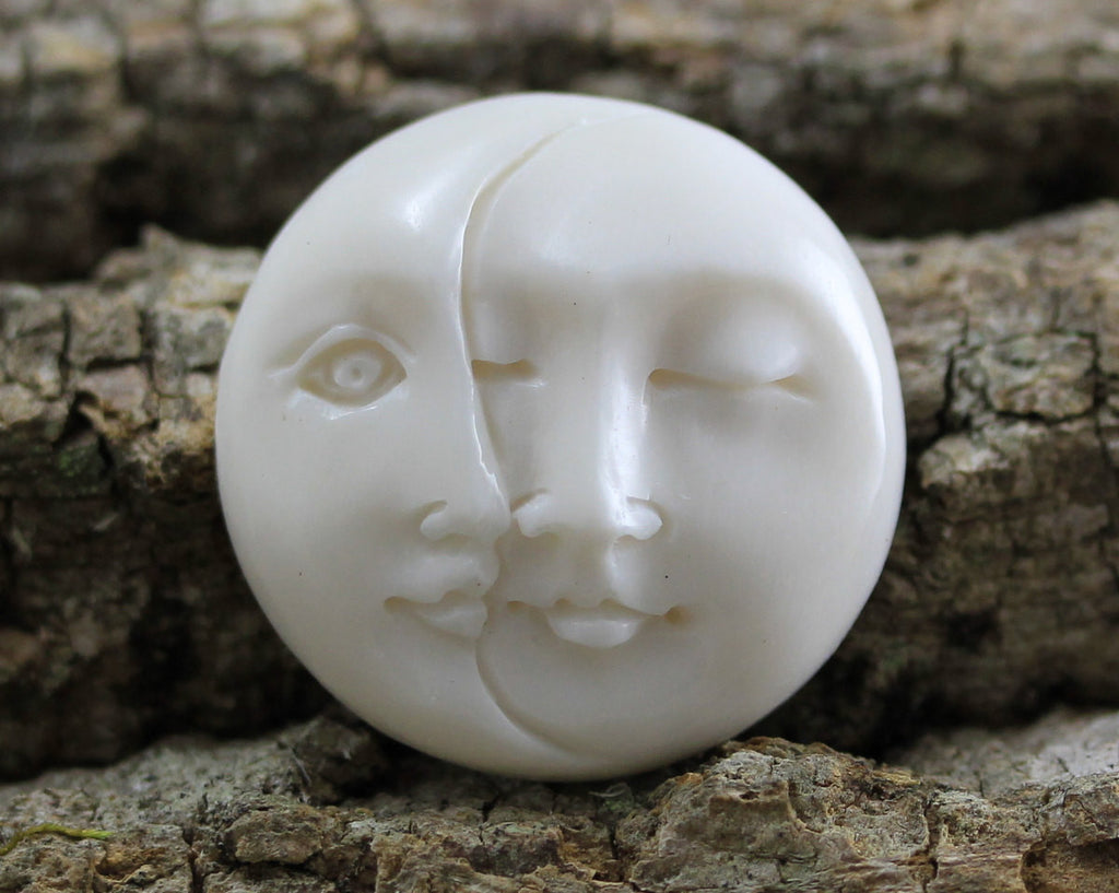 25mm Double Moon Face, Eyes Closed - Eyes Open - Carved Bone Round Cabochon, Handcarved Buffalo Bone, Yoga Accessories   (B272)