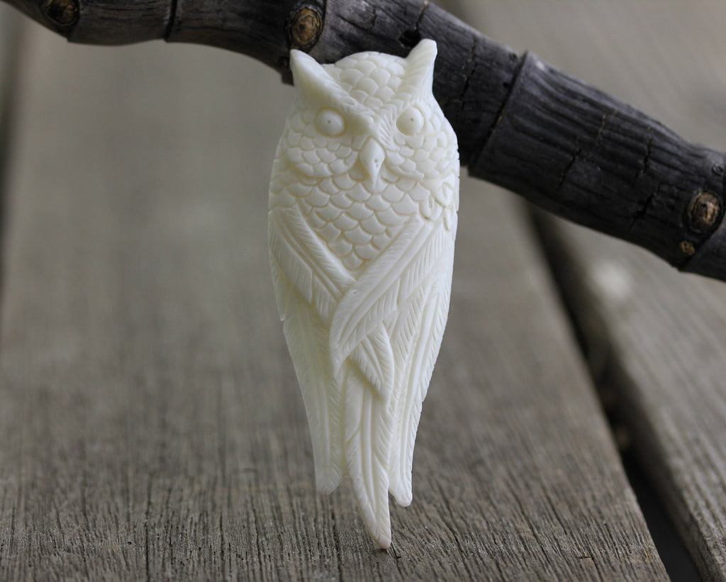 Hand Carved Owl Real Bone Jewelry, Animal Sculpture Jewelry, Bird Carving, DIY Pendant Making, Bead Embroidery Supply, B265