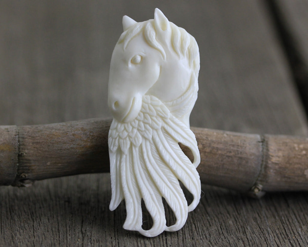 Horse and Feather - Symbolic of Power and Freedom, Hand Carved Buffalo Bone, Western Jewelry, Cowboy Jewelry, Horse Lover Gift  B198