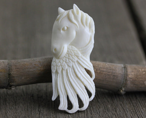 65mm Feather Charm, Reversible Drilled Focal Bead Carving Cow Bone - Bird, Hawk, Eagle, Falcon, Native American, Tribal, Primitive  (B251)