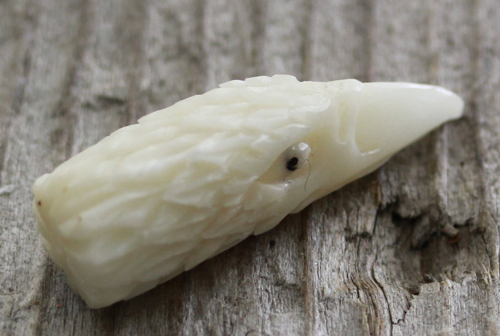 Tagua Nut Carving, Eagle, Falcon, Hawk, Bird - Vegetable Ivory, Native American Jewelry, Findings, Natural Organic Jewelry Designins B122