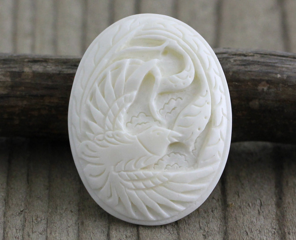 Bird Cameo Cabochon, Carved Recycle Bone, Flat Back, DIY Jewelry Making Supply, Cheap Designer Bead, Center Piece for Bead Embroidery B080