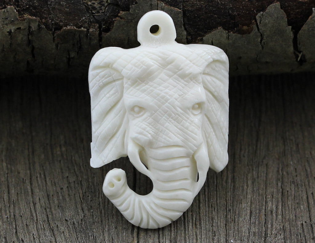 SALE - Elephant Carved Pendant Bead, Bone Carving, DIY Simple Necklace, Hand Carved Buffalo Bone, Organic Jewelry B174