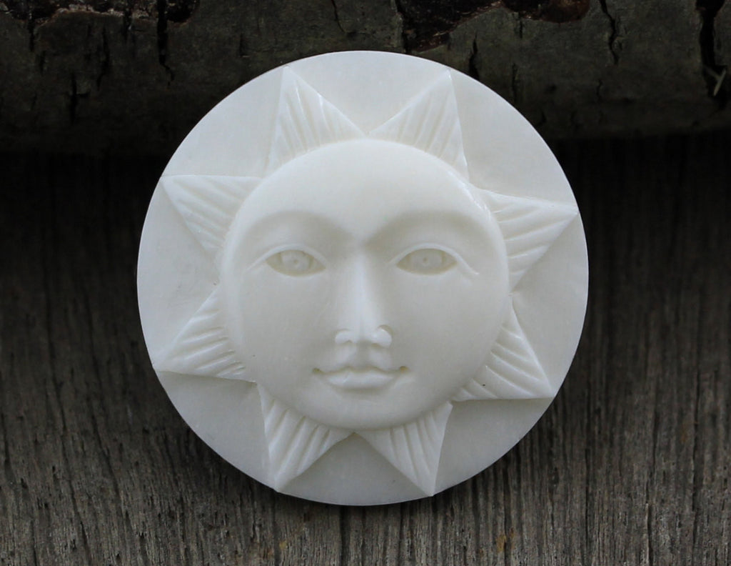 Sun Face Cabochon, Sunshine, Solar Cameo - Recycle Bone Carving, Sunshine, Buddha Face, Flat Back Carving for Bead Embroidery, Button B051