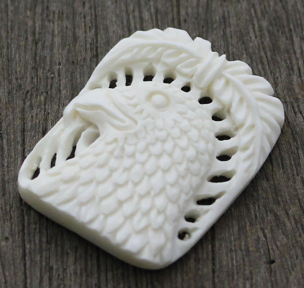 Eagle Carving, Bird Hawk, Hand Carved Organic Wholesale Jewelry, DIY Arts & Crafts, Beading Wrapping Embroidery, Carved Recycle Bone B083