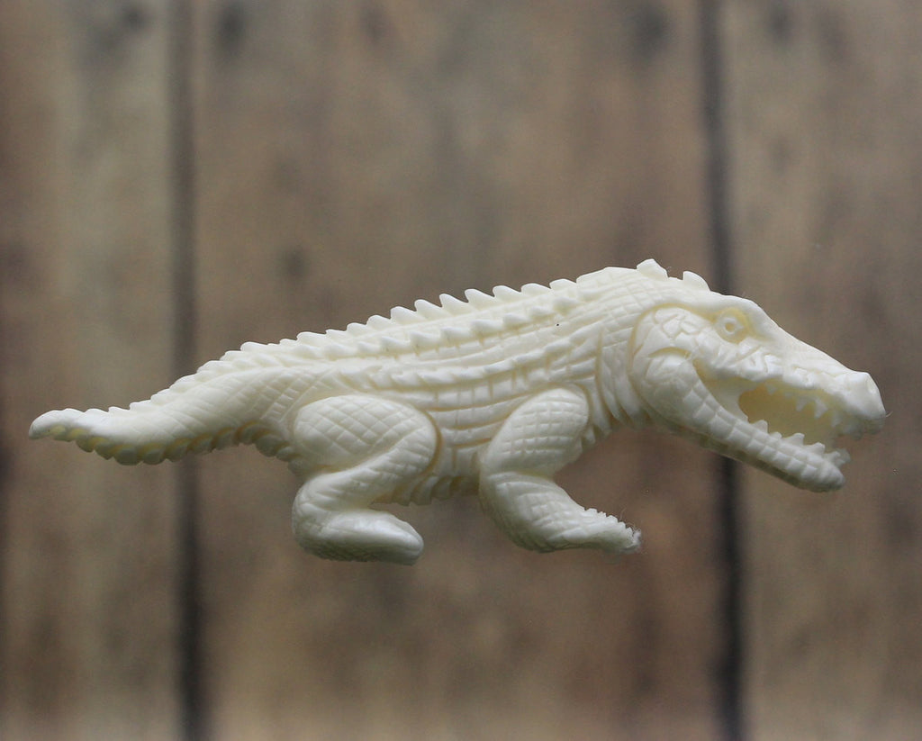 SALE- Crocodile, Carved Bone - Animal Charm, Alligator Pendant, Crafting Supply, Wholesale DIY Pendant, Necklace B160