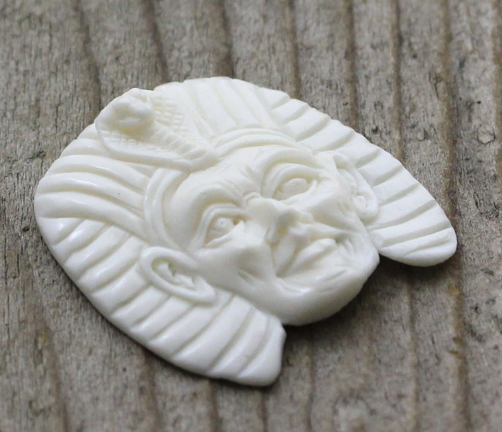 Pharaoh Carving - Egypt, Egyptian, Pyramid, Ancient Jewelry, Primitive Design, Bead Embroidery Cabochon B101