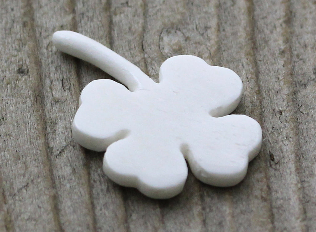 Four Leaf Clover - Carved Bone, St. Patrick, Lucky Charms, Bracelet, Pendant, Good Luck Charm - Gifts, Ornaments, Jewelry B026