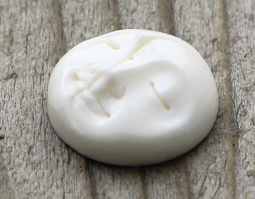 20mm Hand Carved Moon, Sun Sleeping, Face Cameo Carved Cabochon, Bone Carving, Pendant, Ring, Wire, Bead, Jewelry Tutorial, Lesson B068
