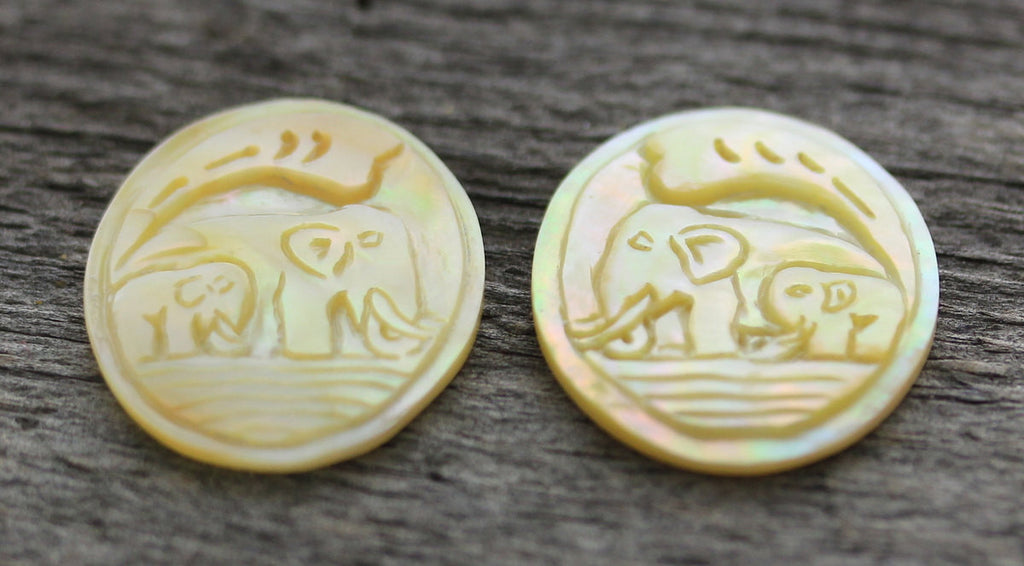 Hand Carved Mother of Pearl, Golden Cameo Pair - Elephants, Sahara - 2 Cabochons, Earrings Pair Bead Embroidery Embellishment  B206