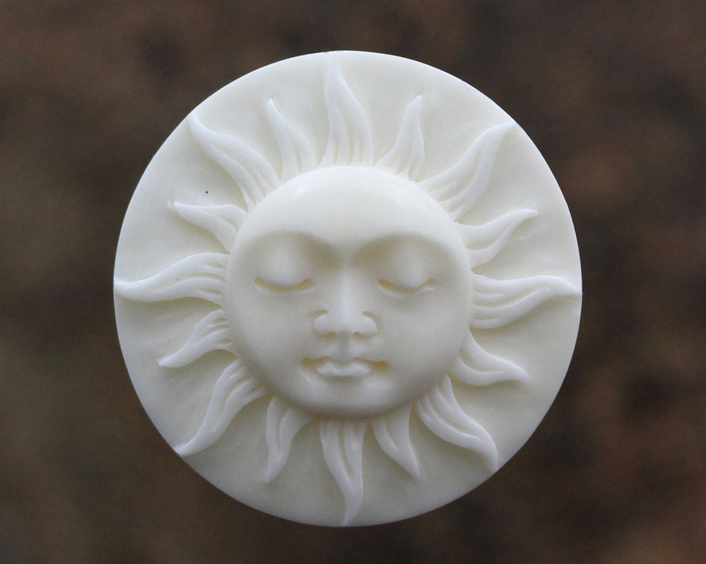 30mm Sun Cameo, Eyes Closed Bone Carving, Round Cabochon, Bezel Setting Supply Sleepy Sunshine, Hand Carved Cow Bone Jewelry  B131