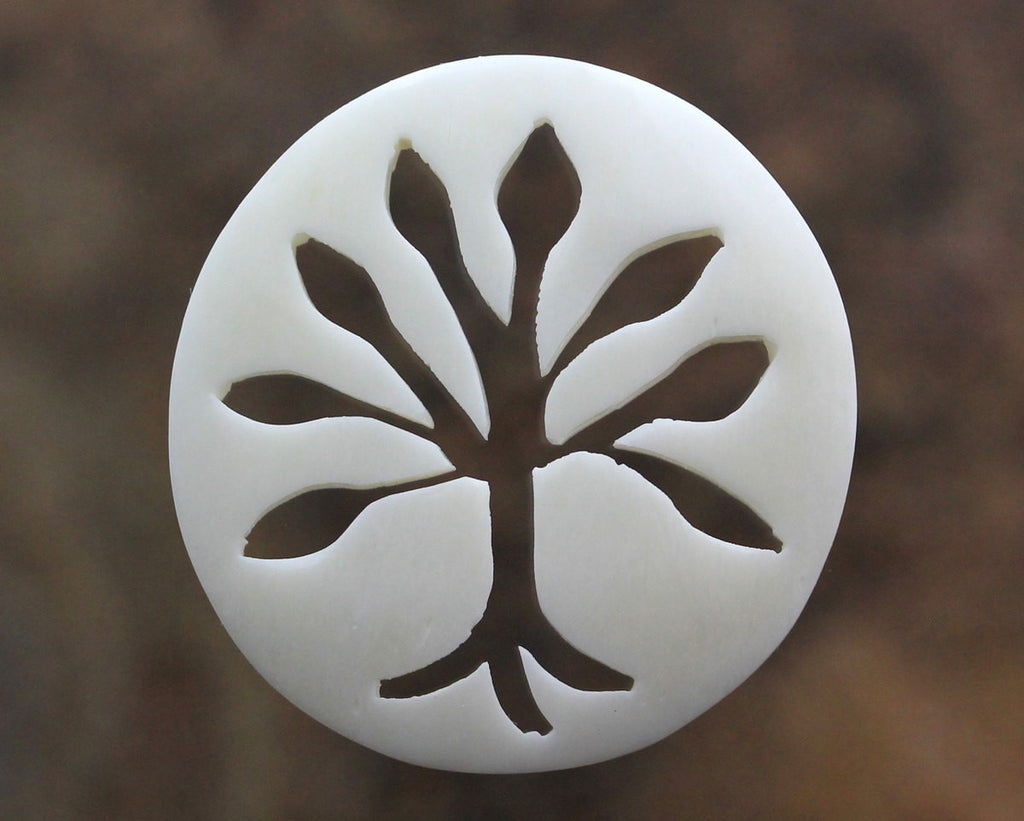 Tree of Life Bone Carving Round Cabochon, Jewelry Making Embellishment, Designer Artisan Carved Bone, Organic Jewelry Supply,  B021