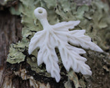 Hand Carved Maple Leaf, Canada - Pendant Carved Bone Jewelry Making Supply, Focal Bead, Embellisment , Leaf Charm, Drilled Recycle Bead B025