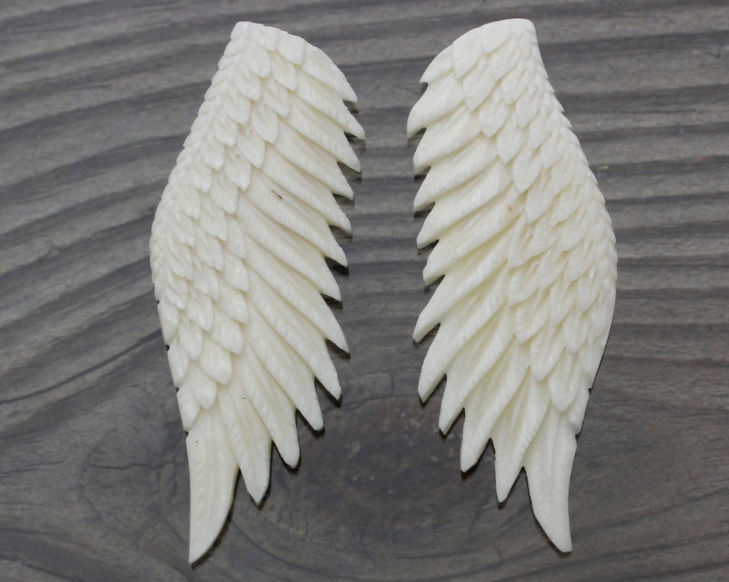 Hand Carved Reversible Angel Wings Water Buffalo Bone High Quality Detailed Sculpture Feather