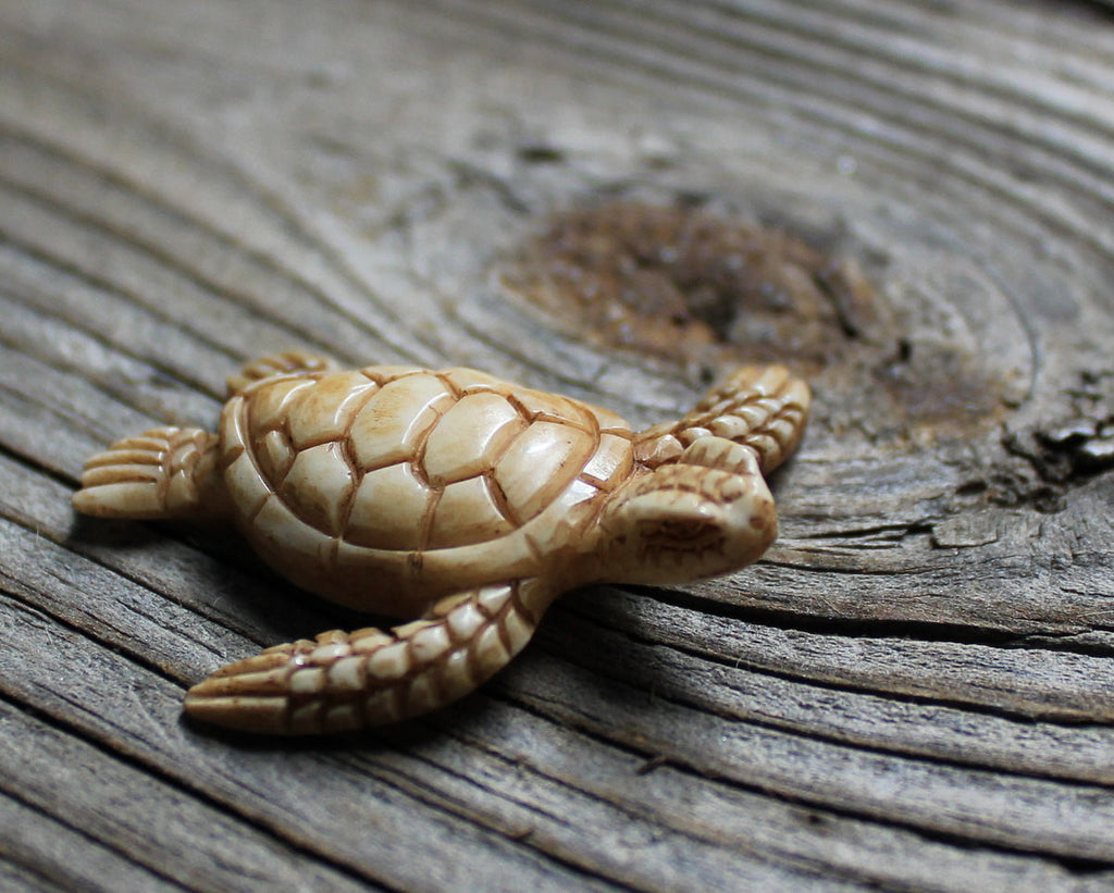 Sea Turtle, Antique Carved Buffalo Bone, Miniature Reptile Charm, Realistic Animal Carving, Collectible Gift for Kids and Adults B228