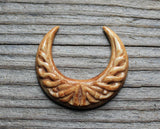 Antique Carved Bone, Crescent Moon Carving, Jewelry Making Supply, Hand Carved Buffalo Bone, Primitive Pendant, Flat Back Cabochon B201