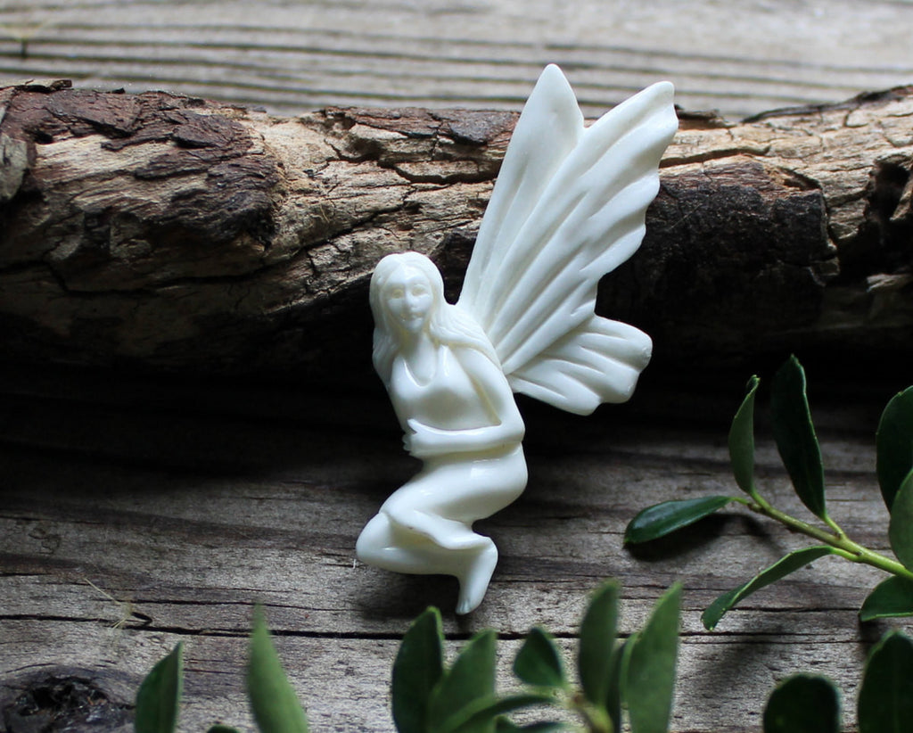 Fairy Carving, Carved Bone, Fantasy Jewelry - Enchanted Charm, Pendant, New Zealand Gift, Collectibles, Ornaments, Bead Findings, Focal B091