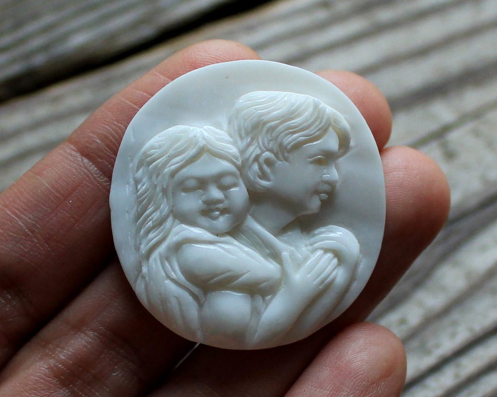 Father & Daughter, Gifts, Pendant, Charm, Collectible, For Dad, Him, Her, Family, Love, Heart, Cameo, Finding, Cabochon, Mothers Day B103