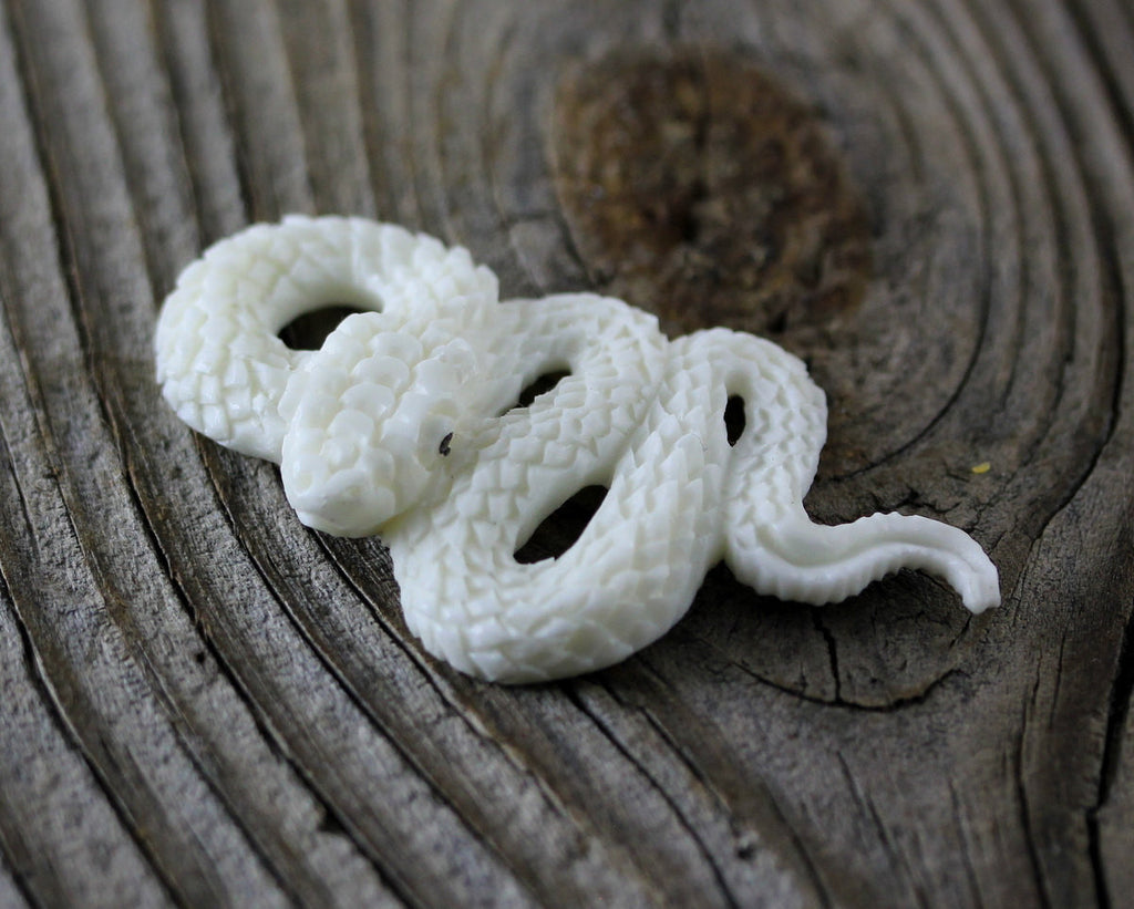 Snake, Serpent Carving of Bone - Primordial Life Force, Mythological Symbols - Wholesale Bone Carvings, Carved Organic Jewelry Crafts B143