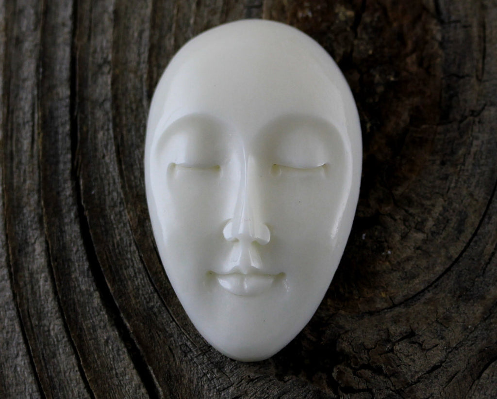 Eyes Closed, Oval Face Cabochon, Bone Carving, Carved Bone Cameo, Yoga Meditation Tribal, Primitive, Bohemian Designs Carved Jewelry B060
