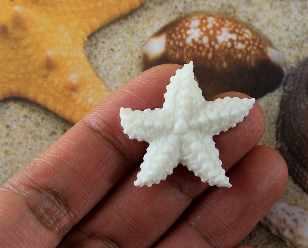 Starfish Carving Cabochon Sea Creatures, Buffalo Bone Carving Flat back Charm  Bead Embroidery Embellishment  Layered Necklace B040