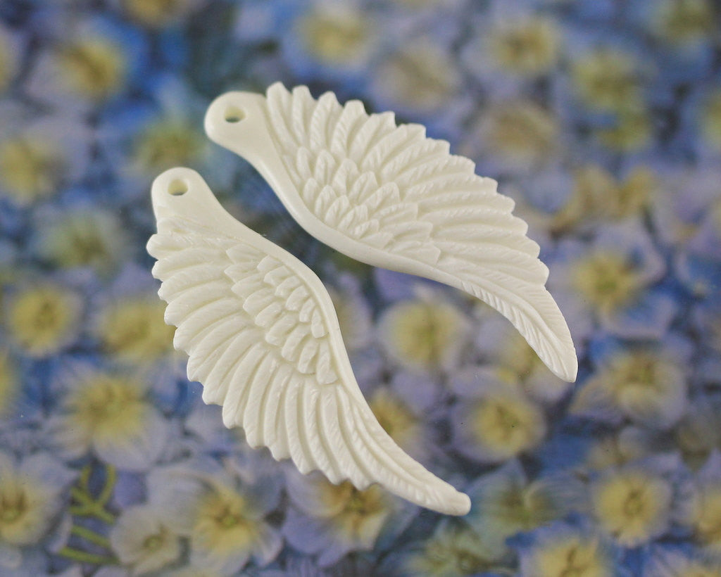 Carved Bone Wings - Drilled Pair Angel Wings, Angelic - Birds, Feathers Flying, Flight, Winged Jewelry Bone Carvings, Earrings Feather B146