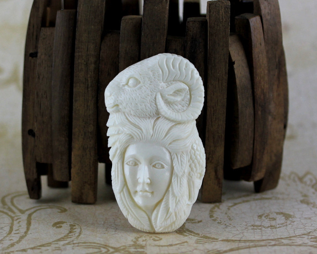 High Quality Bone Carvings - Lady & Ram Spirit Animal of Conquest, Preparation, and New Beginnings (B256)