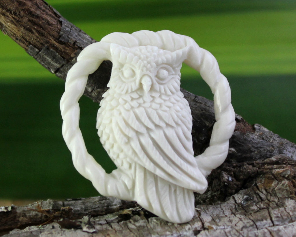 Carved Bone, Perched Owl of the Night- Wisdom Mystery Transistion Symbolisim Hand Carved High Quality Wholesale Carvings (B250)