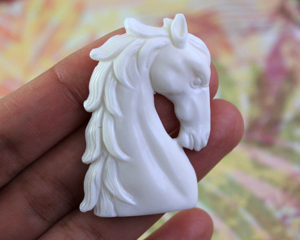 Majestic Horse Carving - Symbolic of Power and Freedom, Hand Carved Buffalo Bone, Western Jewelry, Cowboy Jewelry, Horse Lover Gifts (B249)