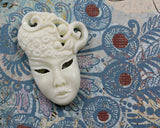 Bone Carving, Theatre Masque, Lady Mask, Princess Queen Mardi Mask, Masquerade Mask, Carved Bone Pendant, DIY Jewelry and Craft B232