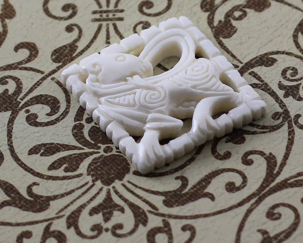 Carved Bone Pendant, Men's Jewelry, Native American Tribal Design, Traditional Carving, Vintage Style Necklace, Gift Idea for Boyfriend B206