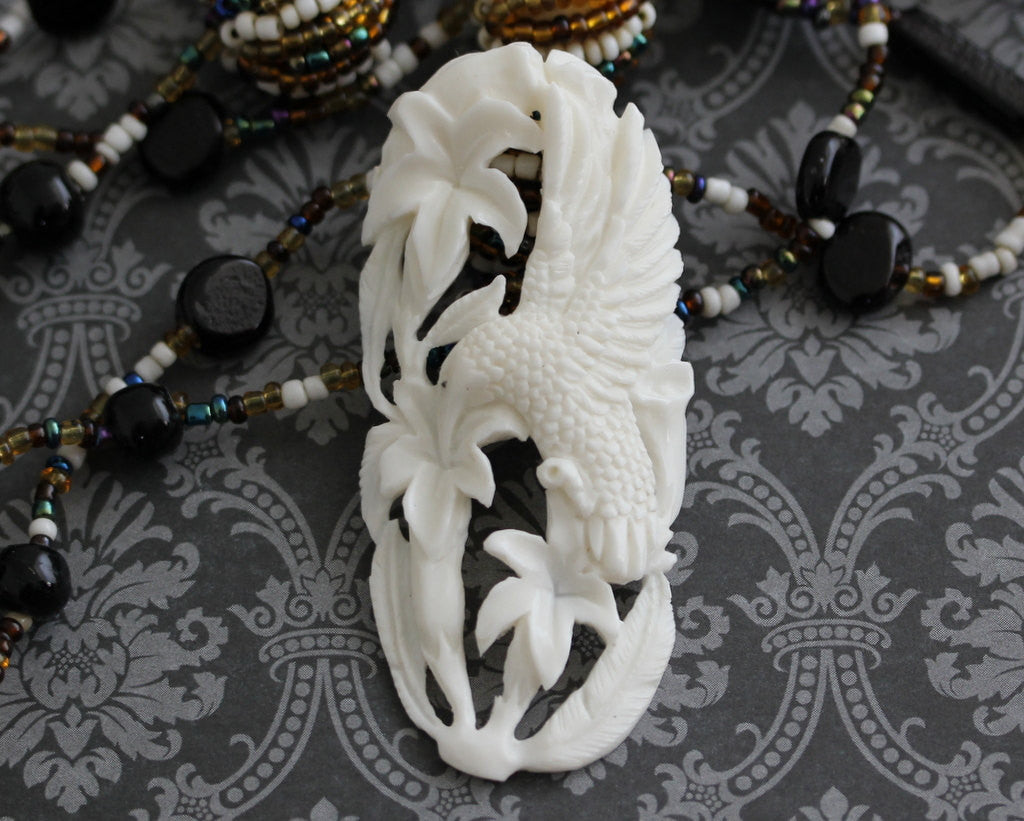 Floral & Fauna Carving, Gift for Bird Lover, Flying Creatures Bead, Hand Carved Jewelry Supply, Carved Water Buffalo Bone Wholesale B135