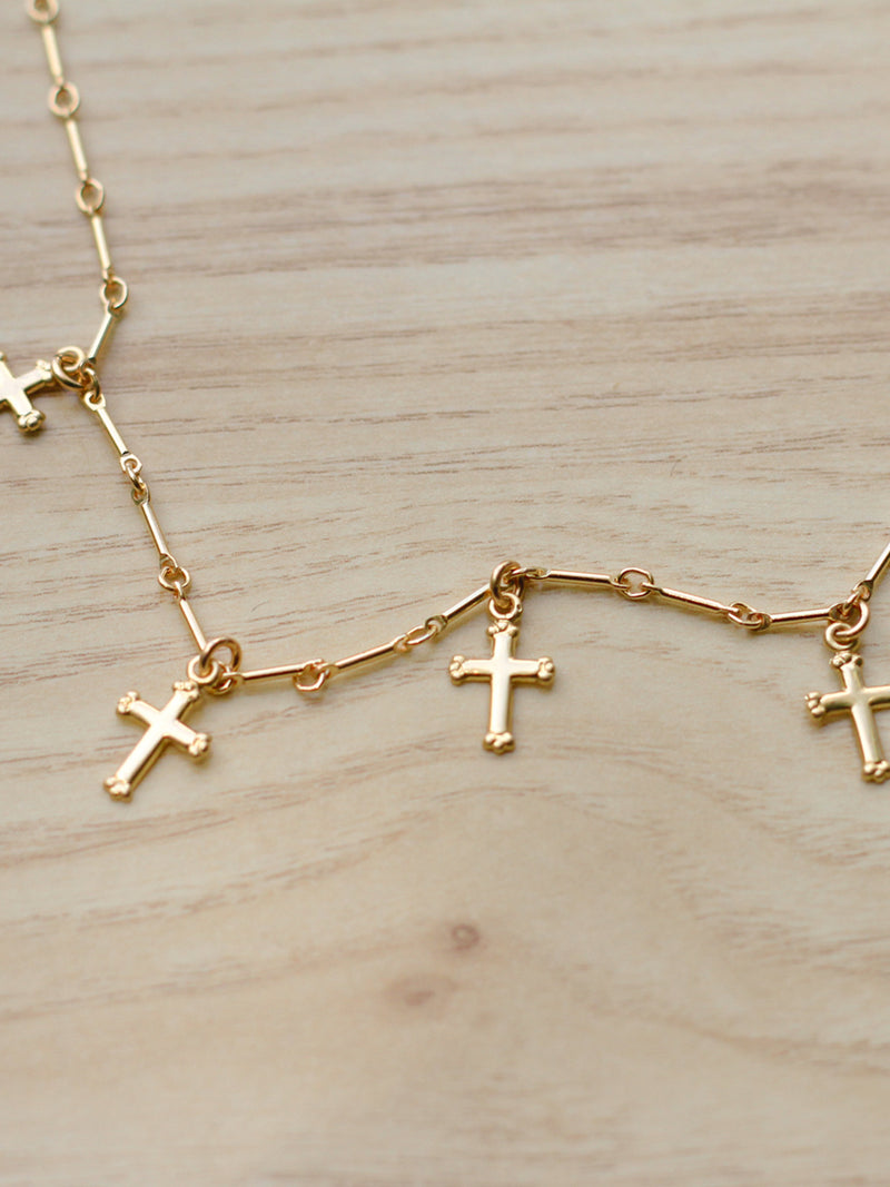 Five Crosses Choker Necklace