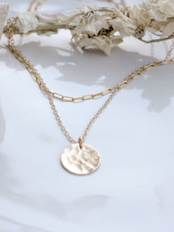 Hammered Coin & Chain Layering Set