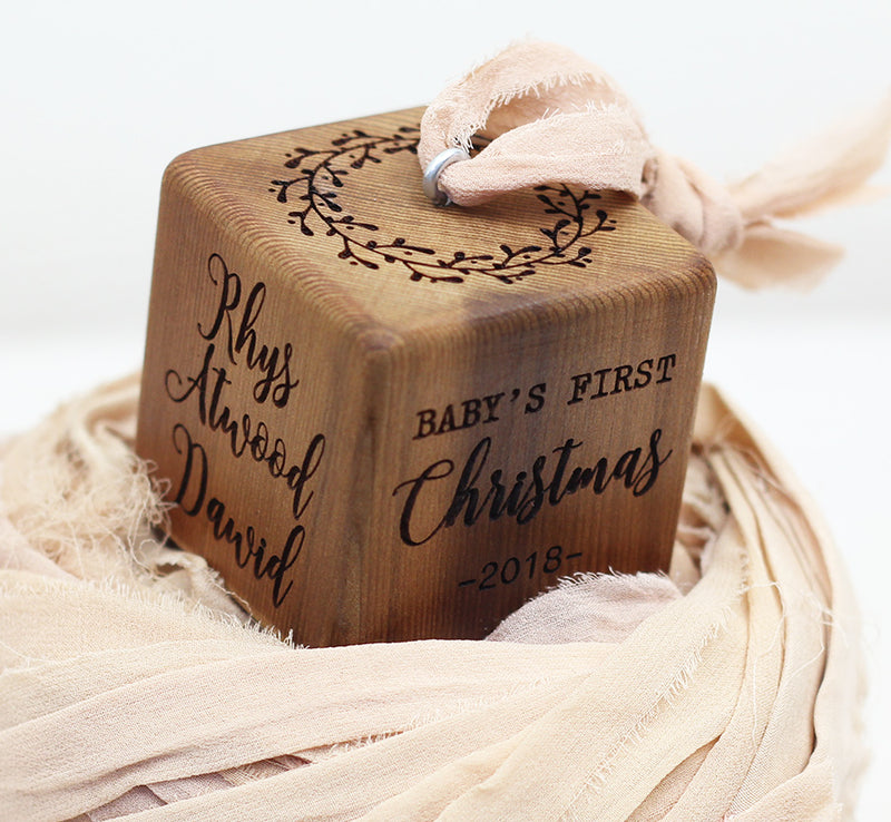 Rustic Love | Baby Block Ornament
