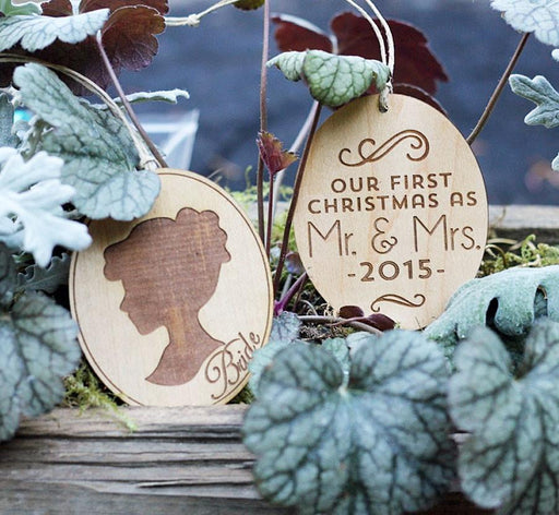 Bride & Groom Silhouette Ornament Set
