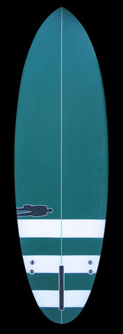 Bullet Single Fin | Green w/ White Stripes
