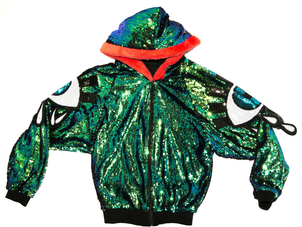 Eye Sequin Oversized Party Jacket