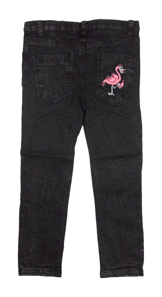 Raccoon, Gorilla & Flamingo Black Jeans
