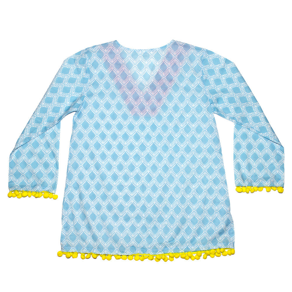 LIGHT BLUE MIX POM POM KAFTAN