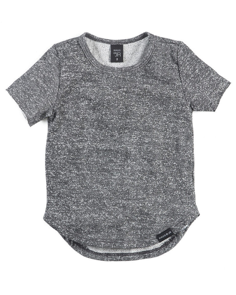 Haus of Jr TREVOR RAW EDGE E-LONG TEE (HEATHER CHARCOAL)