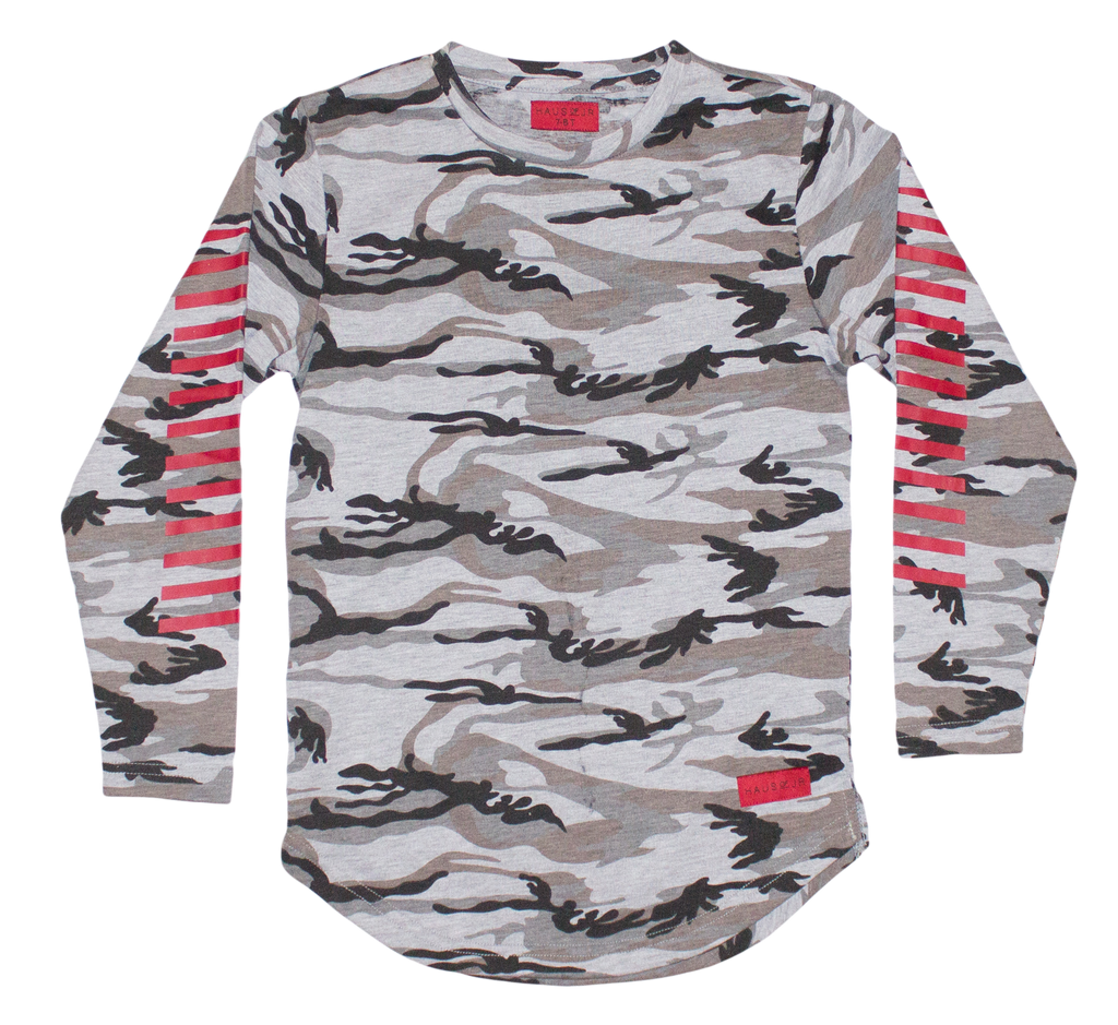 Striped-Sleeve Camouflage Jersey T-Shirt