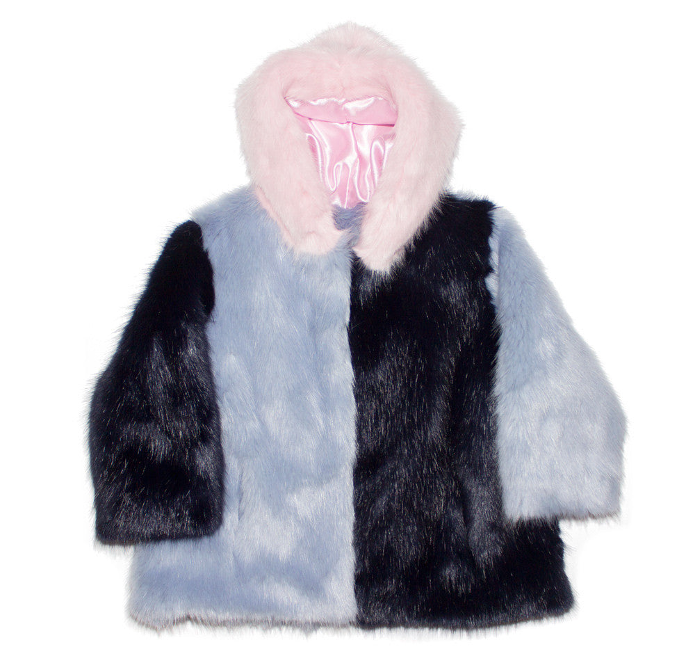 Pink, Blue and White Face Faux Fur Hoodie