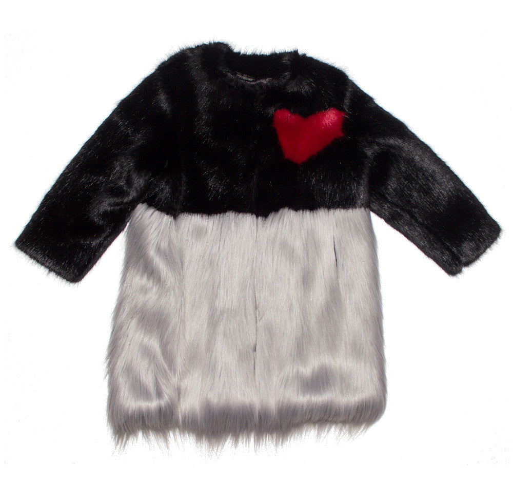 Grey and Red Faux Fur Heart Coat