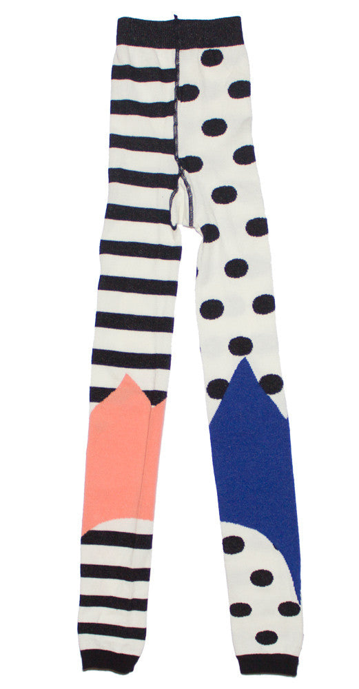 """Silly Legs"" Black and White Panelled Stripe Print Tights"